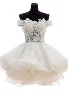 Cute White Off The Shoulder Lace Bodice Short A-Line Homecoming Dress