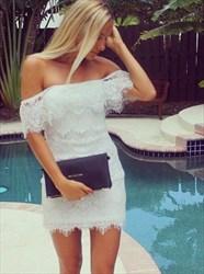 Elegant White Off The Shoulder Short Sheath Lace Homecoming Dress