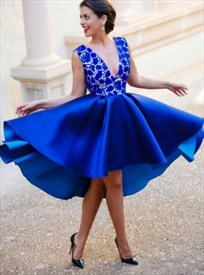 Royal Blue Sleeveless V-Neck A-Line Tea Length High-Low Cocktail Dress
