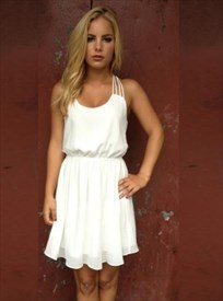 Simple White Spaghetti Strap Short A-Line Chiffon Homecoming Dress