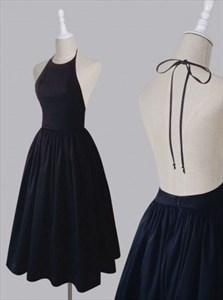 Black Spaghetti Strap Halter A-Line Homecoming Dress With Open Back