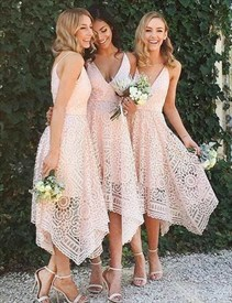 Pink Spaghetti Strap V-Neck A-Line Tea Length Lace Bridesmaid Dress