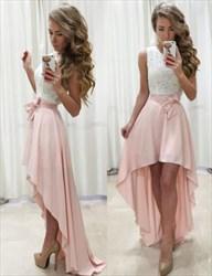 Pink Sleeveless Lace Top High-Low Chiffon Homecoming Dress With Belt