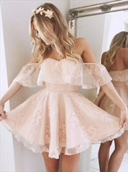 Lovely Blush Pink Off The Shoulder A-Line Short Lace Homecoming Dress