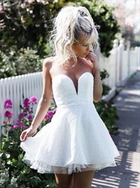 White Strapless Deep V-Neck Short A-Line Lace Overlay Homecoming Dress