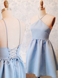 Simple Light Blue Spaghetti Strap Halter A-Line Short Homecoming Dress