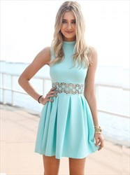 Lovely Light Blue Sleeveless High-Neck Short A-Line Homecoming Dress