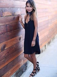 Simple Spaghetti Strap A-Line Little Black Dress With Deep V-Neck