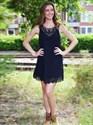 Elegant Black Sleeveless Knee Length A-Line Lace Homecoming Dress