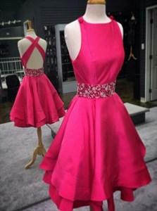 Sleeveless Beaded Waist Short A-Line Homecoming Dress With Cross Back