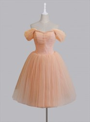 Off The Shoulder A-Line Tulle Homecoming Dress With Beaded Neckline