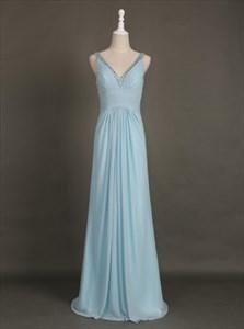 Simple Light Blue Sleeveless Beaded V-Neck Ruched Chiffon Maxi Dress