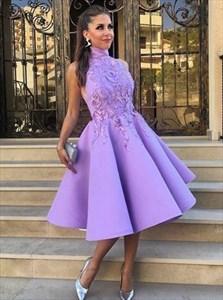 Elegant Sleeveless High-Neck Lace Applique Tea Length Cocktail Dress