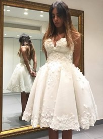 Strapless Sweetheart Lace Applique Knee Length A-Line Homecoming Dress