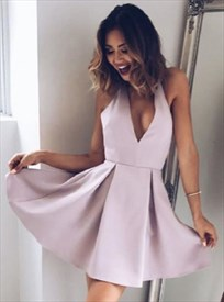 Simple Lovely Halter Neck Plunge V-Neck A-Line Short Homecoming Dress