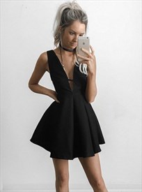 Simple Sleeveless V-Neck A-Line Little Black Dress With Cut Out Waist