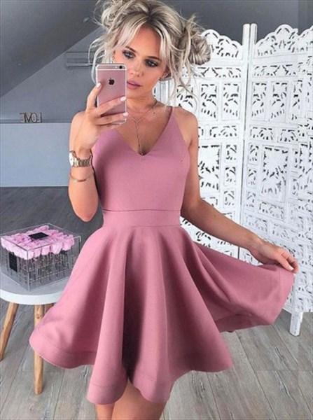 ee1859b901 Cute Simple Sleeveless V-Neck A-Line Short Satin Homecoming Dress ...