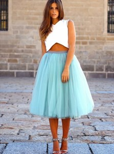 Two-Piece Sleeveless Tea Length A-Line Cocktail Dress With Tulle Skirt