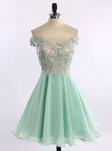 Off The Shoulder Short A-Line Homecoming Dress With Lace Beaded Bodice