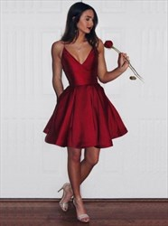 Burgundy Spaghetti Strap V-Neck A-Line Knee Length Homecoming Dress