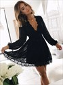 Cute Black Long Sleeve Deep V-Neck A-Line Short Lace Homecoming Dress