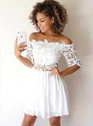 White Off Shoulder Half Sleeve Short Homecoming Dress With Lace Top