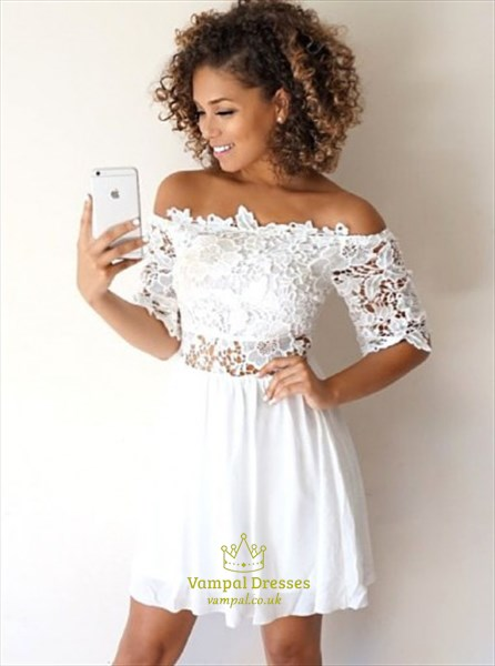 afa6a210b24 White Off Shoulder Half Sleeve Short Homecoming Dress With Lace Top ...