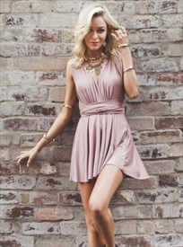 Short Sleeveless V-Neck Ruched Cross Back Homecoming Dress With Belt
