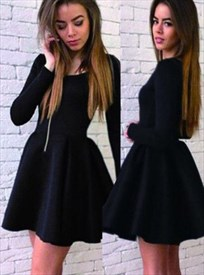 Simple Long Sleeve A-Line Little Black Dress With Closed Back