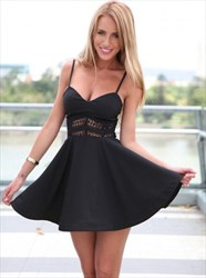 Spaghetti Strap V-Neck A-Line Little Black Dress With Beaded Waist
