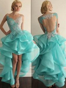 Aqua Blue Sleeveless High Low Ruffle Homecoming Dress With Sheer Back