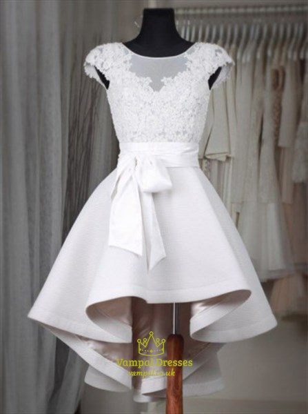 White Illusion Cap Sleeve Short High Low Homecoming Dress With Belt