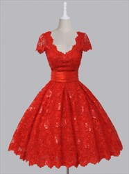 Red Cap Sleeve V-Neck A-Line Lace Homecoming Dress With Ruched Waist