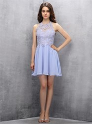 Elegant Lilac Sleeveless Lace Applique Short A-Line Homecoming Dress