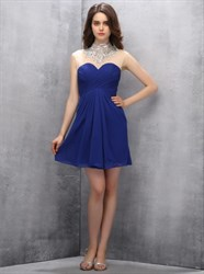 Royal Blue Short A-Line Homecoming Dress With Sheer Beaded Neckline