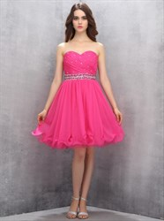 Hot Pink Strapless A-Line Homecoming Dress With Beaded Empire Waist