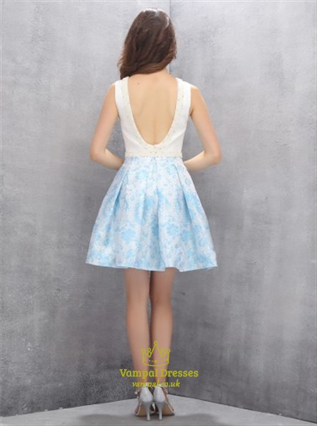 Elegant Sleeveless Short A-Line Beaded Homecoming Dress With Open Back