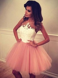 Sheer Neckline Sleeveless Knee Length A-Line Tulle Homecoming Dress