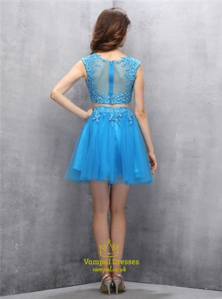 Aqua Blue Illusion Two-Piece Cap Sleeve Short Tulle Homecoming Dress