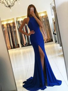 Royal Blue Sleeveless Mermaid Cut Out Waist Evening Dress With Split
