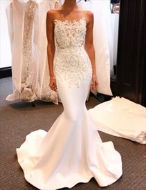 Elegant White Strapless Mermaid Formal Dress With Appliques Beading