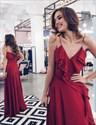 Burgundy Spaghetti Strap V-Neck A-Line Floor Length Chiffon Prom Dress