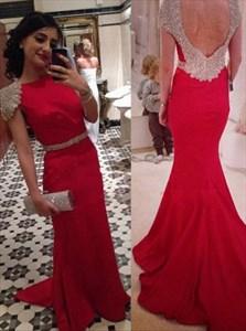 Elegant Red Cap Sleeve Mermaid Floor Length Prom Dress With Open Back