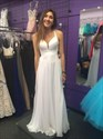 White Sleeveless Ruched Bodice A-Line Long Prom Dress With Cross Back