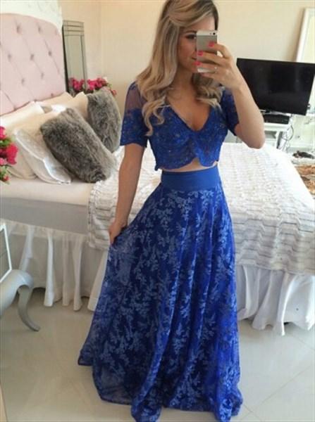 b58e88639e5 Royal Blue Two Piece V-Neck Short-Sleeve A-Line Lace Long Prom Dress ...