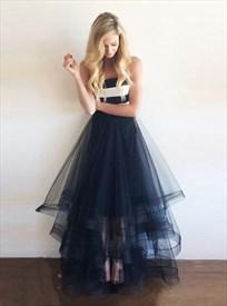 Elegant Strapless Empire Waist A-Line Floor Length Tulle Prom Dress