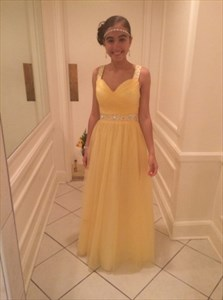 A-Line Yellow Sleeveless Sweetheart Neckline Beaded Tulle Prom Dress