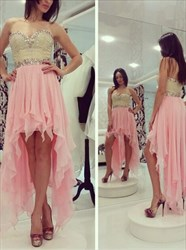 Pink High-Low Chiffon Strapless A-Line Homecoming Dress With Beading