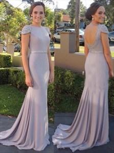 Elegant Mermaid Beaded Cap Sleeve Open Back Floor Length Prom Dress