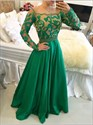 Emerald Green Long Sleeve A-Line Long Prom Dress With Illusion Bodice